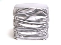 Silver Faux Leather Stool-15.75x15.75x16.16 Product Image