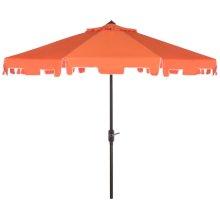 Zimmerman 9 Ft Crank Market Umbrella With Flap - Orange / White