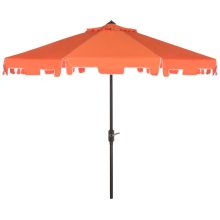 Zimmerman 9 Ft Crank Market Umbrella With Flap - Orange / White