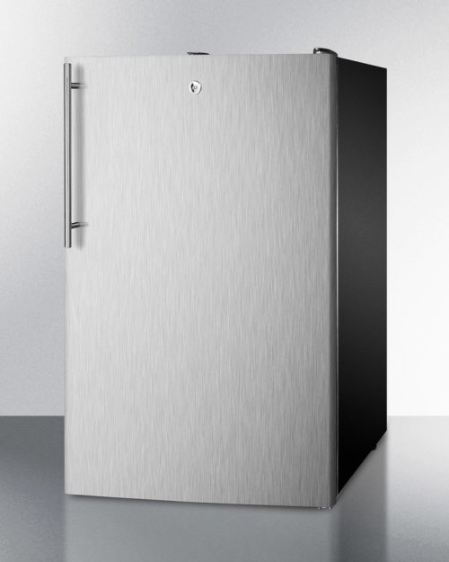 "Commercially Listed 20"" Wide Counter Height All-refrigerator, Auto Defrost With A Lock, Stainless Steel Door, Thin Handle, and Black Cabinet"