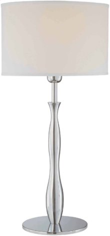 Table Lamp, Chrome/white Fabric Shade, Type A 100w