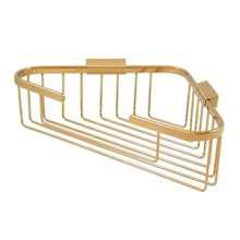 "Wire Basket, 13-1/4"" x 10-1/4"" Triangular Corner - PVD Polished Brass"