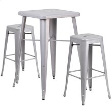 23.75'' Square Silver Metal Indoor-Outdoor Bar Table Set with 2 Square Seat Backless Stools