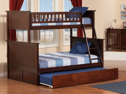 Nantucket Bunk Bed Twin over Full with Urban Trundle Bed in Walnut