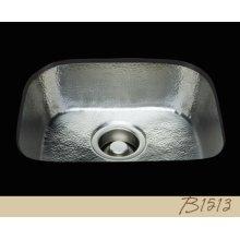 B1513 - D-bowl Prep Sink - Hammertone Pattern - Antique Brass