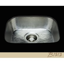 B1513 - D-bowl Prep Sink - Hammertone Pattern - Antique Brass