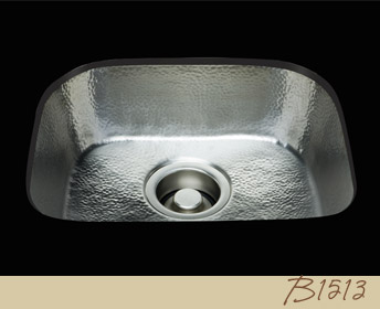 B1513   D Bowl Prep Sink   Hammertone Pattern   Polished Brass Hidden