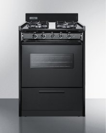 "24"" Wide Gas Range In Black With Sealed Burners, Oven Window, Interior Light, and Electronic Ignition"