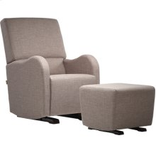 Glider with rounded armrests and square seatback.