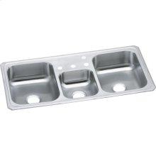 "Elkay Celebrity Stainless Steel 43"" x 22"" x 7"", Triple Bowl Drop-in Sink"