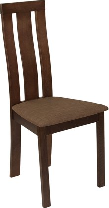 Glenwood Espresso Finish Wood Dining Chair with Vertical Wide Slat Back and Golden Honey Brown Fabric Seat
