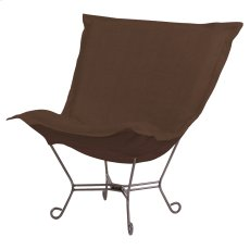 Scroll Puff Chair Sterling Chocolate Titanium Frame Product Image