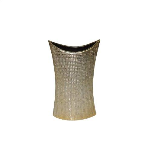 """Ceramic 11.75"""" Mermaid's Purse Vase, Gold"""