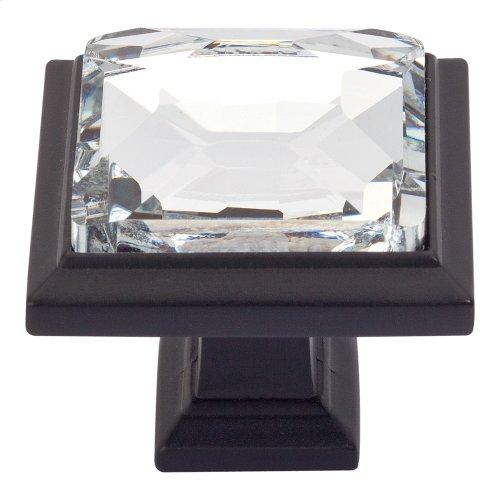 Legacy Crystal Square Knob 1 5/16 Inch - Matte Black