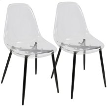 Clara Dining Chair - Set Of 2 - Black Metal, Clear Acrylic