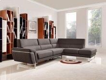 Divani Casa Navarro Modern Brown Fabric Sectional Sofa w/ Right Facing Chaise