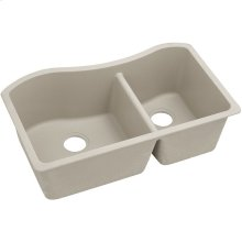 "Elkay Quartz Classic 32-1/2"" x 20"" x 10"", 60/40 Double Bowl Undermount Sink, Putty"