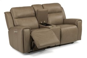 Jasper Leather Power Reclining Loveseat with Console and Power Headrests