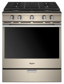 5.8 Cu. Ft. Smart Contemporary Handle Slide-in Gas Range with EZ-2-Lift Hinged Cast-iron Grates