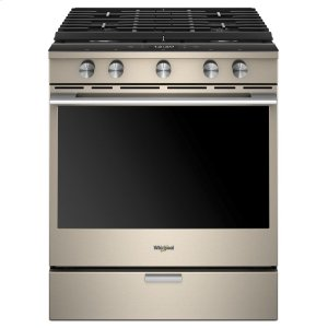 Whirlpool5.8 Cu. Ft. Smart Contemporary Handle Slide-in Gas Range with EZ-2-Lift Hinged Cast-iron Grates