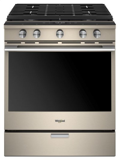 5.8 Cu. Ft. Smart Contemporary Handle Slide-in Gas Range with EZ-2-Lift Hinged Cast-iron Grates Product Image