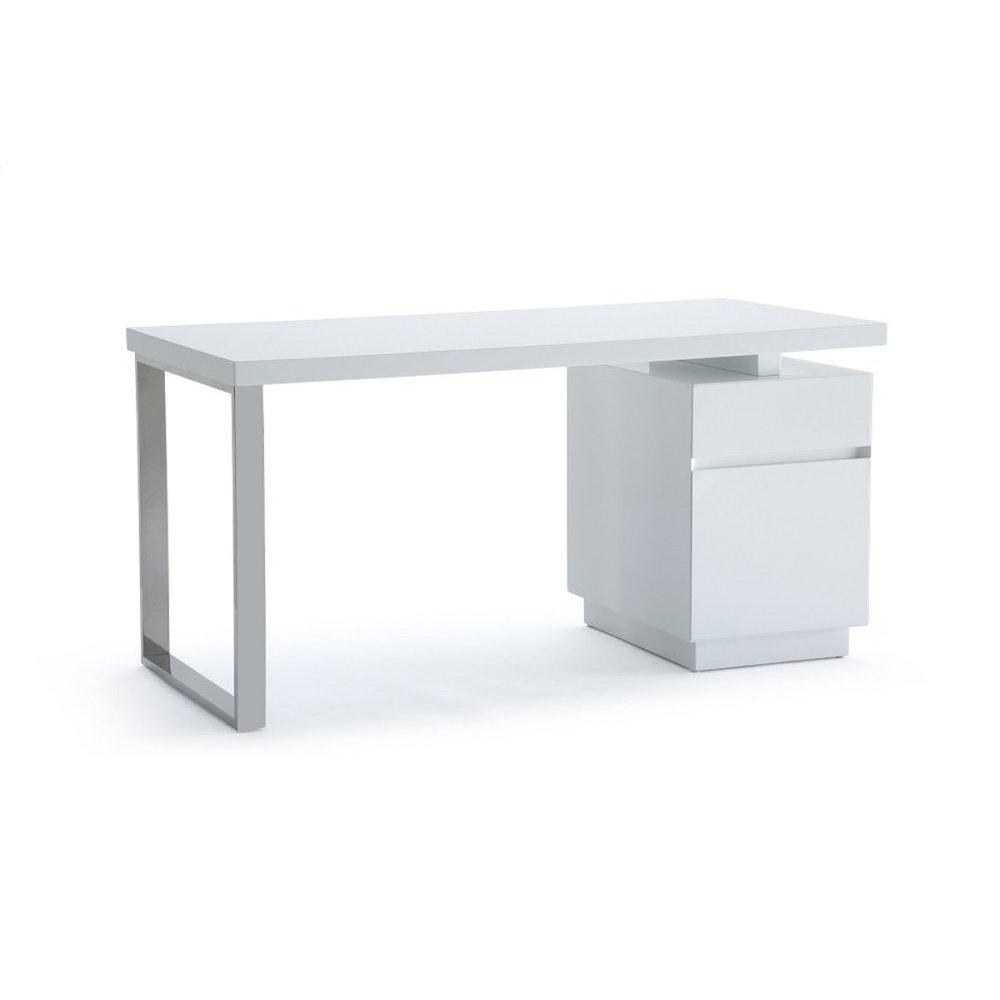 Modrest Carson Modern White & Stainless Steel Desk
