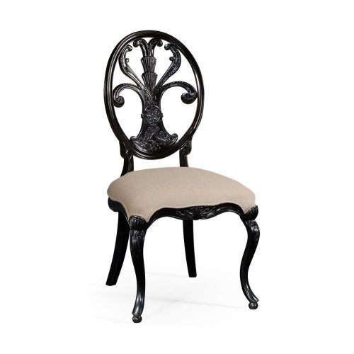 Black Painted Sheraton Style Oval Back Side Chair