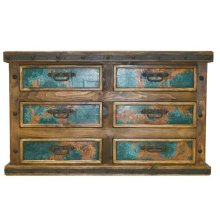 Dresser with Turquoise Copper Panels