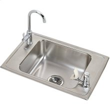 """Elkay Celebrity Stainless Steel 25"""" x 17"""" x 6-7/8"""", Single Bowl Drop-in Classroom Sink and Faucet / Bubbler Kit"""