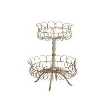 Distressed Grey Aged Wire Laced 2-Tier Footed Garden Urn