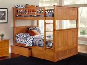Nantucket Bunk Bed Full over Full with Flat Panel Bed Drawers in Caramel Latte