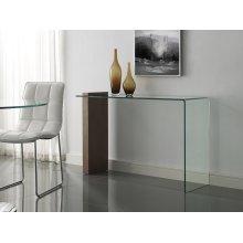 The Buono Walnut Veneer W 1/2 Clear Glass Console Table
