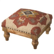 Red Medallion Woven Kilim Stool.
