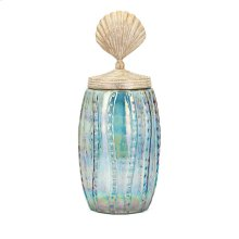 Shell Lidded Large Decorative Canister