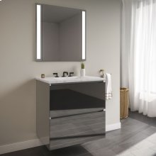 """Curated Cartesian 24"""" X 15"""" X 21"""" Two Drawer Vanity In Tinted Gray Mirror Glass With Slow-close Plumbing Drawer, Full Drawer and Engineered Stone 25"""" Vanity Top In Silestone Lyra"""