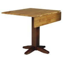Square Dropleaf Pedestal Table in Cinnamon & Espresso