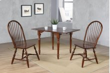 Sunset Trading 3 Piece Drop Leaf Dining Set in Chestnut with Windsor Spindleback Chairs