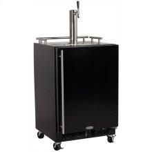 Mobile Indoor Single Tap Black Door - Marvel Refrigeration - Solid Black Door, Stainless Handle Single Tap - Right Hinge