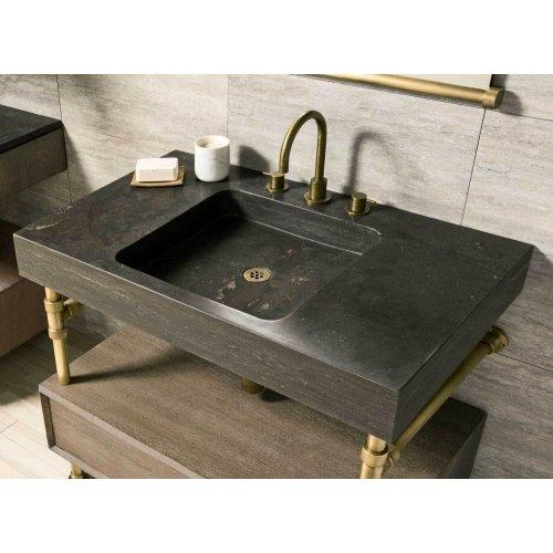 "Elemental Console Sink, 36"" Antique Gray Limestone / 36in / Aged Brass"