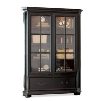 Allegro Sliding Door Bookcase Burnished Cherry/Rubbed Black finish