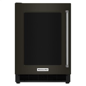 "Kitchenaid Black24"" Undercounter Refrigerator with Glass Door and Metal Trim Shelves - Black Stainless"