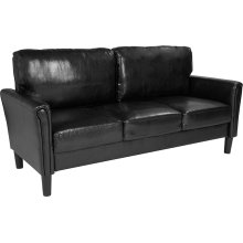 Bari Upholstered Living Room Sofa in Black Leather