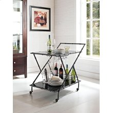 Gunmetal Gray Serving Cart with black glass shelves