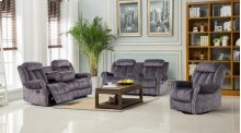 3pc Grey Velvet Motion Sofa Set