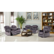 3pc Grey Velvet Motion Sofa Set
