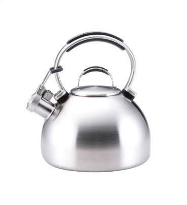 Porcelain Enamel Teakettle - Brushed Stainless Steel