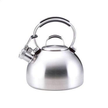 Porcelain Enamel Teakettle - Brushed Stainless Steel