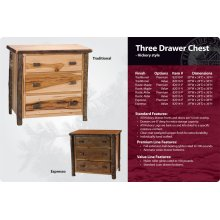 Hickory 3 Drawer Chest