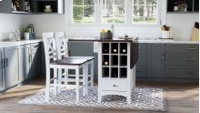 Asbury Park Counter Drop Leaf Table W/2 X Back Stools - White/autumn