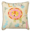Embroidered Lion Pillow. Product Image